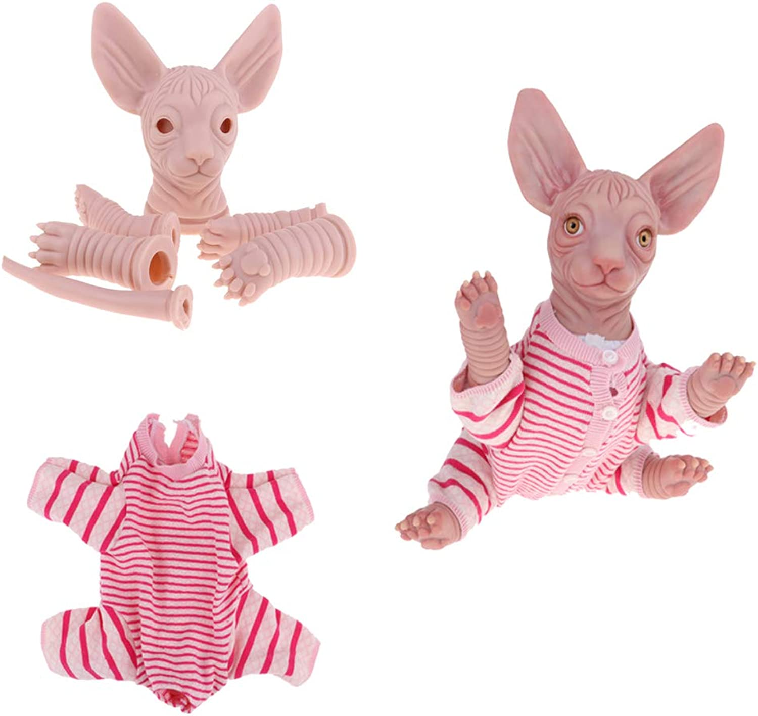 Fityle Unpainted 18inch Reborn Kits Silicone Vinyl Sphynx Cat & Striped Clothes – Real Life Canadian Hairless Cat Toy