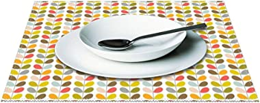 Heat-Resistant Table Placemats Set of 6, Stem Pattern Orla Kiely Washable Fabric Placemats for Dining Room Kitchen Table Mats