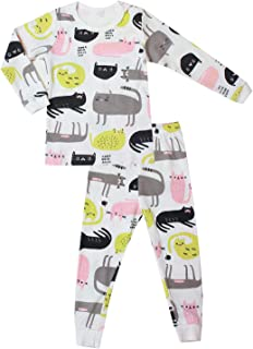 OllCHAENGi Baby Kids Boys Girls Cotton Pajama Set Long Sleeve 3T-14Y Cats