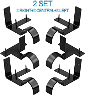 Excelloon Single Curtain Rod Brackets, 2 Set (6Pcs), Curtain Rod Holder Set, Tap in Window Frame, No Drill Rob Brackets for Home Decoration (Black)