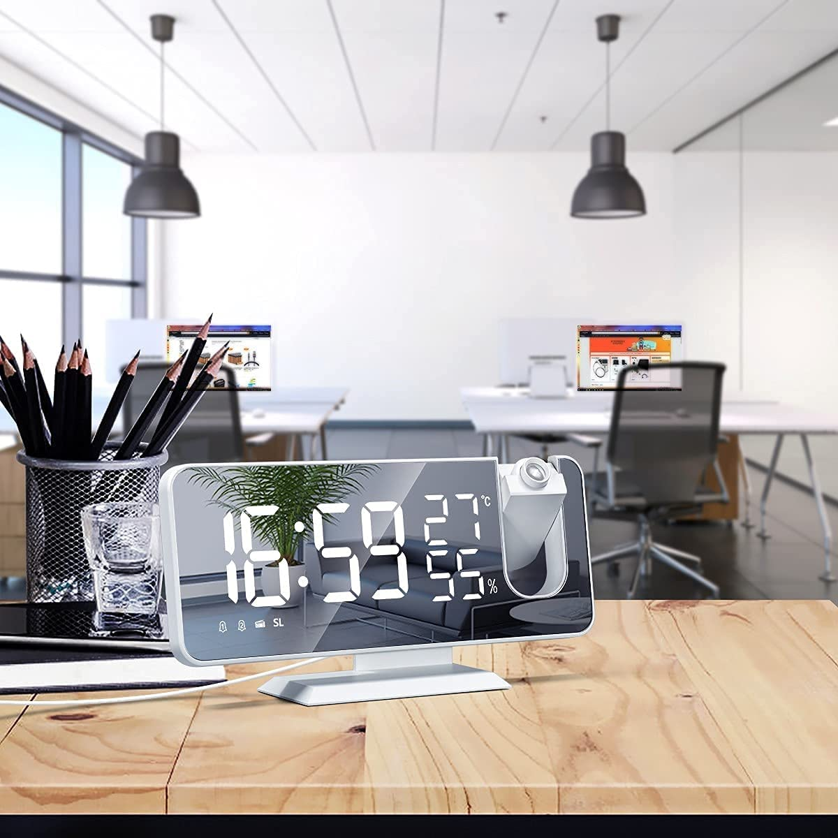 Free shipping Shavanpark Digital Alarm Clock 5.3 Regular store Mirrored Large LED inch Cloc