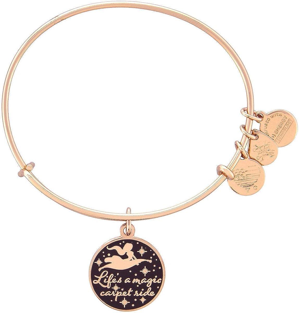 Disney Jasmine Life's a Magic Carpet Ride Bangle Bracelet Rose Gold Alex and Ani