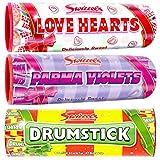 Swizzels 3 tubos de regalo, 1 corazón de amor, 1 violetas de parma, 1 baquetas de 108 g cada regalo ideal o agradecimiento
