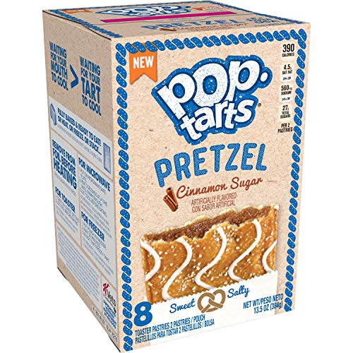 Pop-Tarts Pretzel, Breakfast Toaster Pastries, Cinnamon Sugar, 96Count (Pack Of 12, 13.5 Oz Boxes)