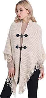 FEOYA Womens 2 Horn Buttons Shawl Cardigan Sweater Double Layer Tassels Poncho Cape