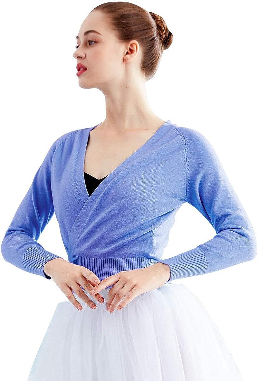 Daydance Women Wrap Dance Sweater Pink Soft Ballet Warm Up Jacket for Leotards