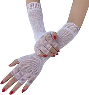 3 Pairs Long Fishnet Gloves Sexy Punk Fishnet Finger Mesh Gloves, Black (Color : White)