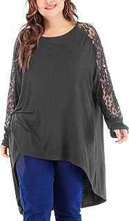 JKLING Women Lace Patchwork Tops Stylish Plus Size Crew Neck Long Sleeve High Low Chunky Loose Soft Sweatshirt