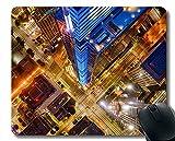 Natürliche Natürliche Gummi Mauspads, Stadt Nacht Luftbild rutschfeste Gummi Mousepad