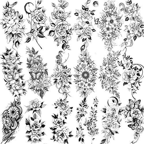 COKTAK 18 Blätter Schlange Schwarz Blume Temporäre Tattoos Frauen Hals Arm, Pfingstrose Sonnenblume Schmetterling Fake Tattoo Aufkleber, Mond Realistisch Rose Tatoos Temporär Mädchen Erwachsene Blüte