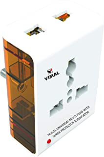 VIMAL - X113 Wave 3 Pin Travel Universal Multi Plug with Surge Protector & Indicator.