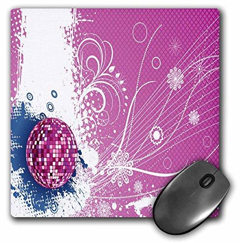 3dRose LLC mp 78473_1 Mauspad, 20,3 x 20,3 x 0,63,5 cm, glitzernd, Rosa Discokugel auf grunge Hintergrund