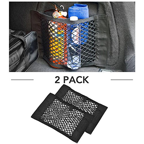 9 MOON Trunk Organizer - Universal KIT Rear Trunk Back Seat - Cargo Mesh Net Bag Flexible Nylon Car...