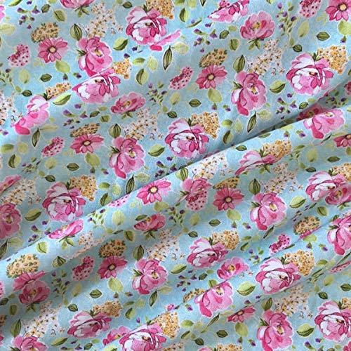 Tela popelín estampada digital por metros - 100% algodón - 150 cm ancho - Largo a elección de 50 en 50 cm - Para decoración y ropa de vestir | Azul con flores rosa: Amazon.es: Hogar