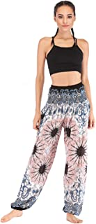 WSLCN Women's Harem Hippie Pants Baggy Boho Patterned High Waist Smocked Waist Thin with Pockets Lounge Trousers for Yoga ...
