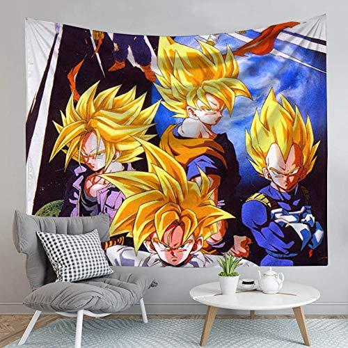 MSHAQT Dragon Ball Z Goku Vegeta Colgante De Pared Anime Tapiz Colcha Manta De Picnic Sala De Estar Deco Cabecera 148 Cm * 200 Cm
