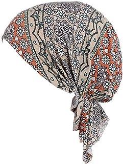 Qhome Women Cotton Bandana Scarf Pre Tied Chemo Hat Beanie Turban Headwear for Cancer Patients Ladies Turbante