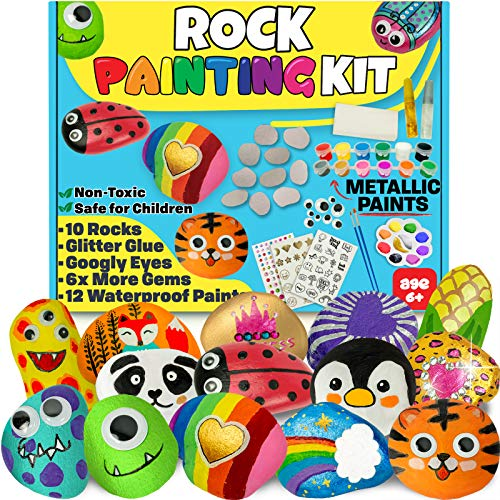 JOYEZA Rock Painting Art Kit for Kids Arts and Crafts for Kids Ages 8-12 - Best Art Craft Gift for Rock Painting, All-Inclusive Art Supplies for Painting Rocks - Fun Kids Activities