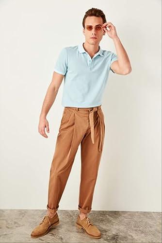 LFNANYI Sweat à Capuche en Coton Confortable à Manches Courtes pour Hommes de la Mode Bleu T-Shirt en Coton pour Hommes - Polo à Manches Courtes T-Shirts