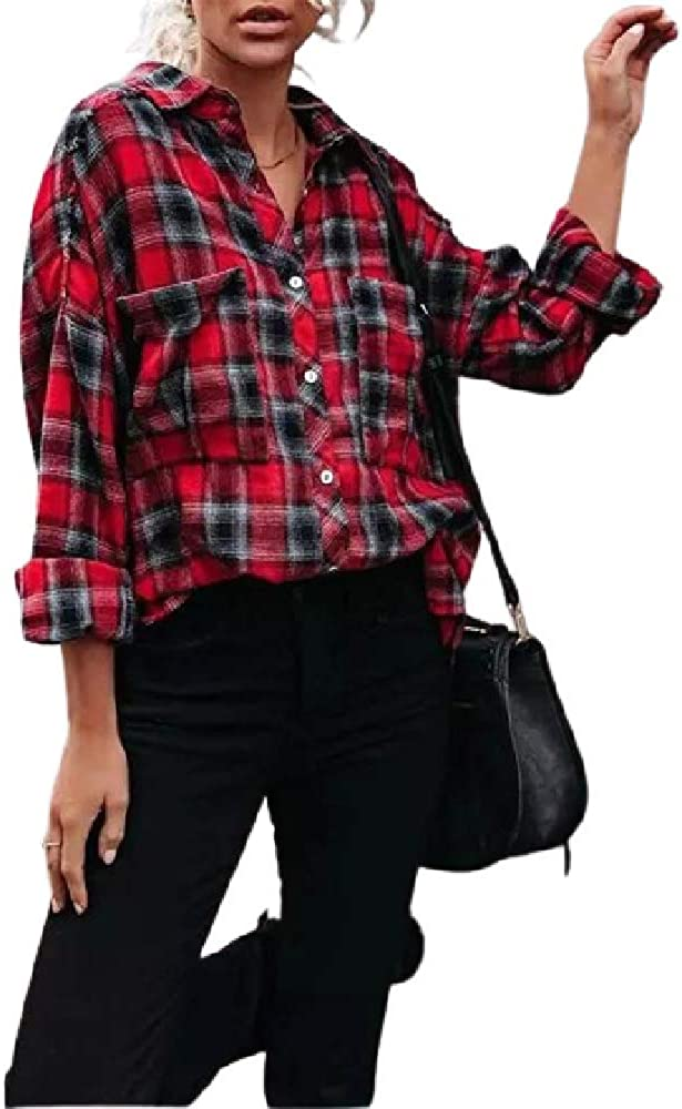 ZIWOCH Womens Flannel Color Block Plaid Shirts Long Sleeve Casual Loose Blouses Lapel Button Down Shirts with Pockets