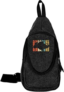 Retro Style Singapore Silhouette Mens & Womens Unisex Outdoor Funny Style Riding Shoulder Chest Bag