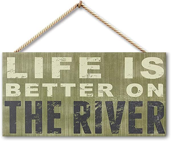 Sneeze Life Is Better On The River Wooden Wall Sign Wood Flower Name Plaque Vintage Engraved Family Hanging Decor Bathroom Kitchen Welcome Bar Cafe Bedroom Hotel