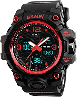 Watch Outdoor Sports Waterproof 5ATM Gift Box Double Time Chronograph Luminous Alarm Clock Black Blue Gold Red Man Boy Student Multi-Function Electronic Watch, Fashion Watch (Color : Red)