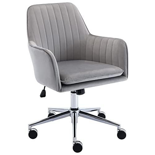 Five Stars Furniture Home Office Desk Chair, Plush Velvet Fabric Task Chair,Modern,Comfortble with Wheels Tufted Rolling Swivel Chair Height Adjustable for Work Study Living Room (Grey)