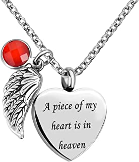 Jan-Dec Birthstone Angel Wings Heart Cremation Urn Necklace for Memorial Jewelry A Piece of My Heart is in Heaven Ashes Pendant with Fill Kit