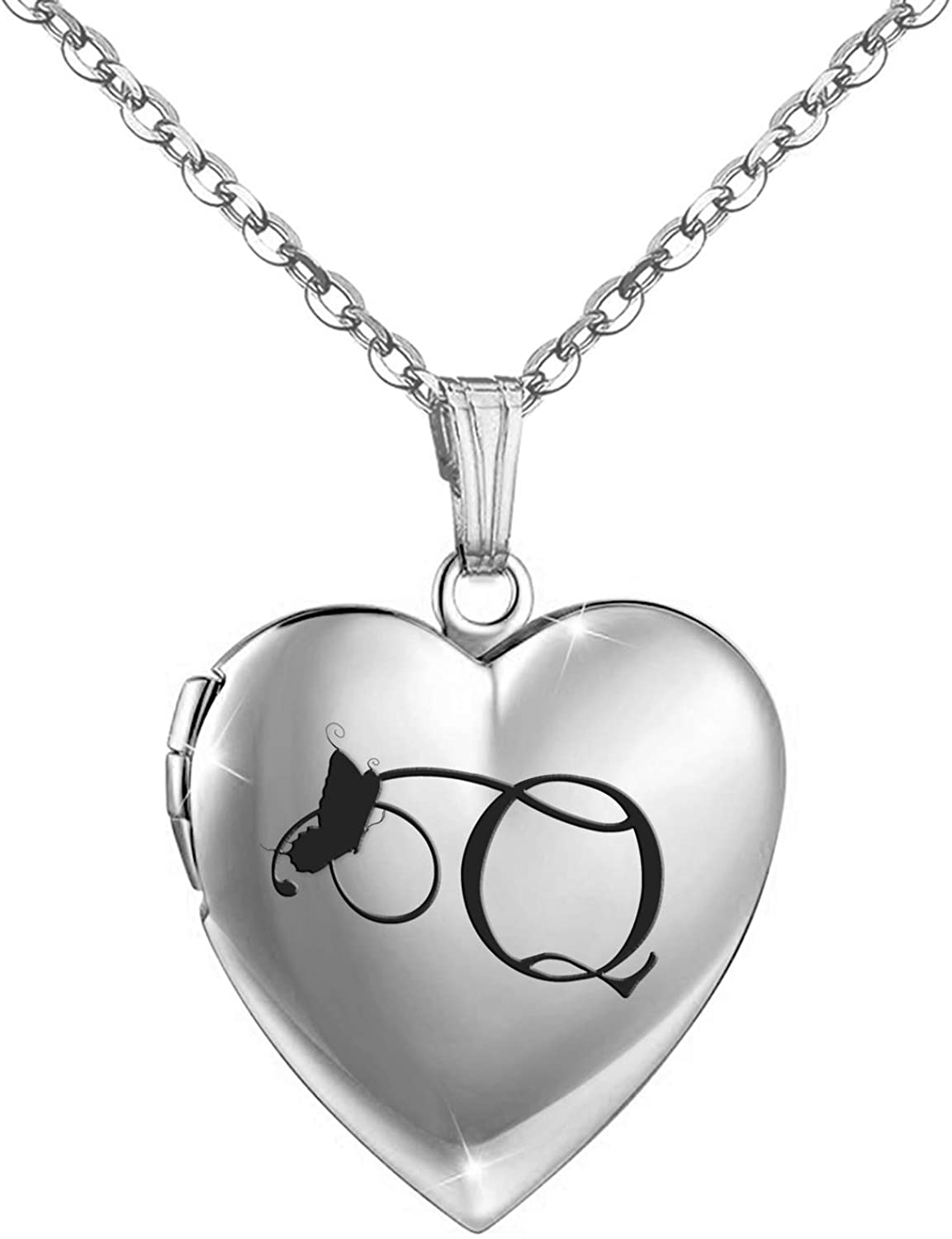 Butterfly Locket Necklace that Holds Pictures Initial Alphabet Letter Heart Shaped Photo Memory Locket Pendant Necklace