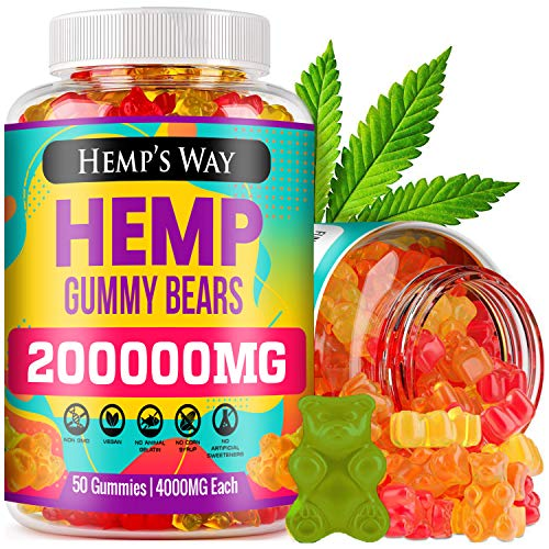 Hemp Gummies - 200,000mg, Stress, Insomnia & Anxiety Relief - Made in USA - Tasty & Relaxing Herbal Gummies - Premium Extract - Mood & Immune Support - Omega 3-6-9 Complex