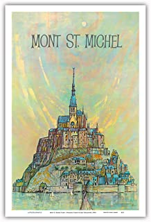 Pacifica Island Art - Mont St. Michel Island - Normandy, France - Vintage World Travel Poster by Earl Thollander c.1950s - Master Art Print - 12in x 18in