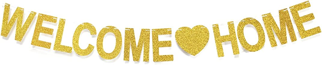 GZFY Welcome Home Gold Glitter Banner for Home Decoration Family Party Supplies Photo Booth Props