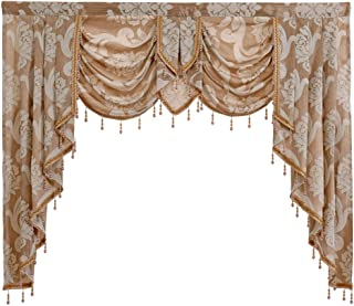 """NAPEARL European Style Luxury Waterfall Valance Living Room Window Decoration (1 Valance 61""""Wx49""""L, Beige)"""
