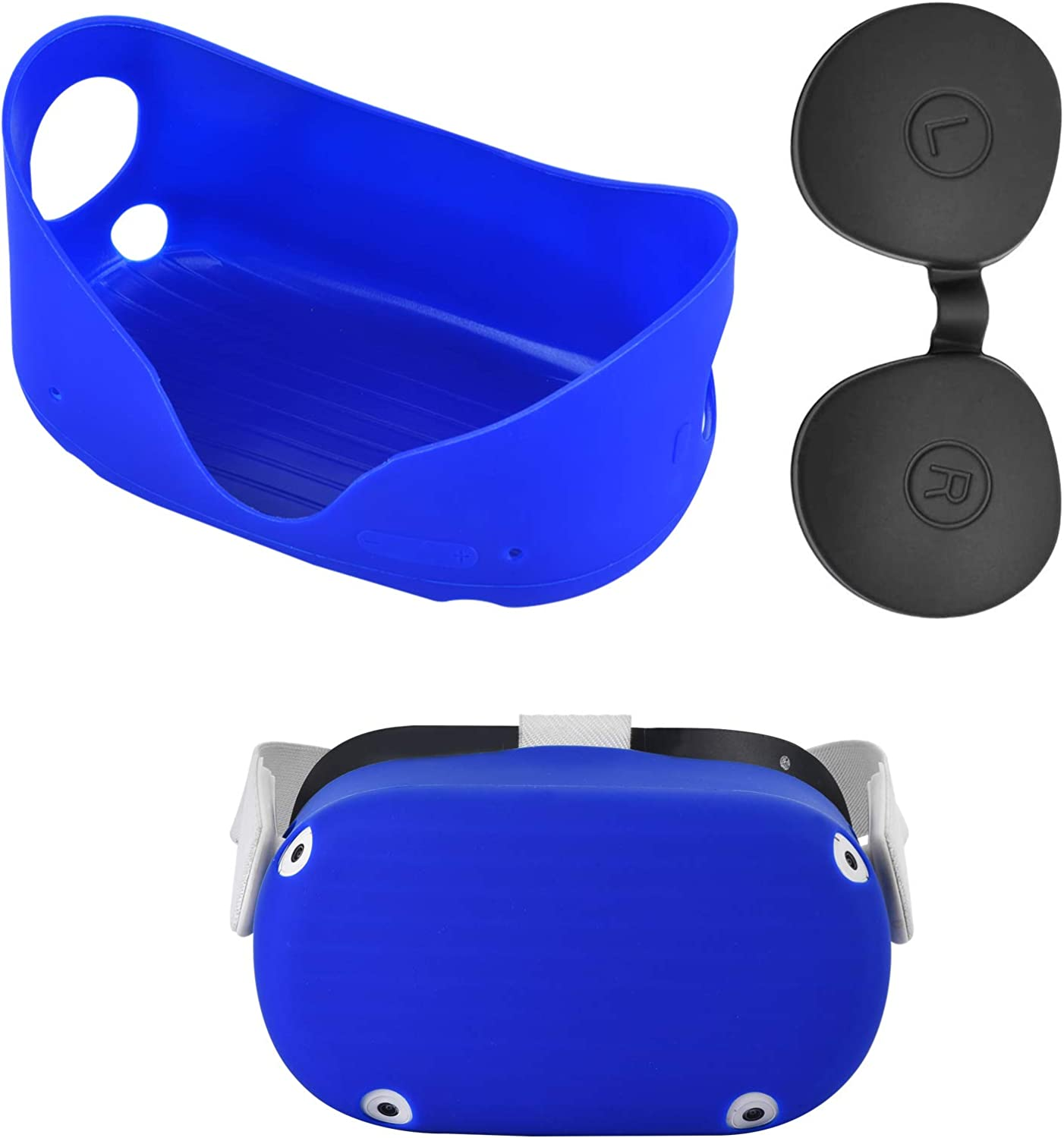 XIAOGE Silicone Front Protector Cover for Oculus Quest 2 with Black Lens Cover Accessories Dust Proof Washable Oculus Quest 2 Silicone Protector Shell (Blue)