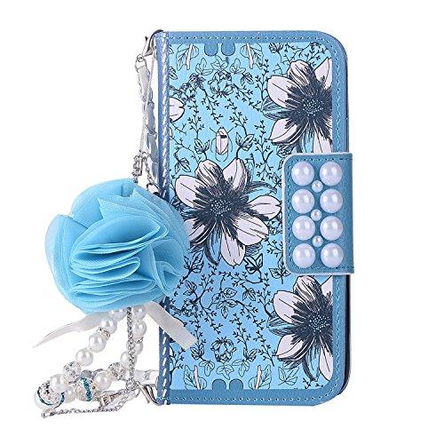 Capa para iPhone Flower feminina, DMaos luxuosa capa carteira de couro sintético 3D de decoração de flor artificial com corrente de bolsa, linda e feminina para iPhone, for iPhone 11 Pro Max, Blue Flower