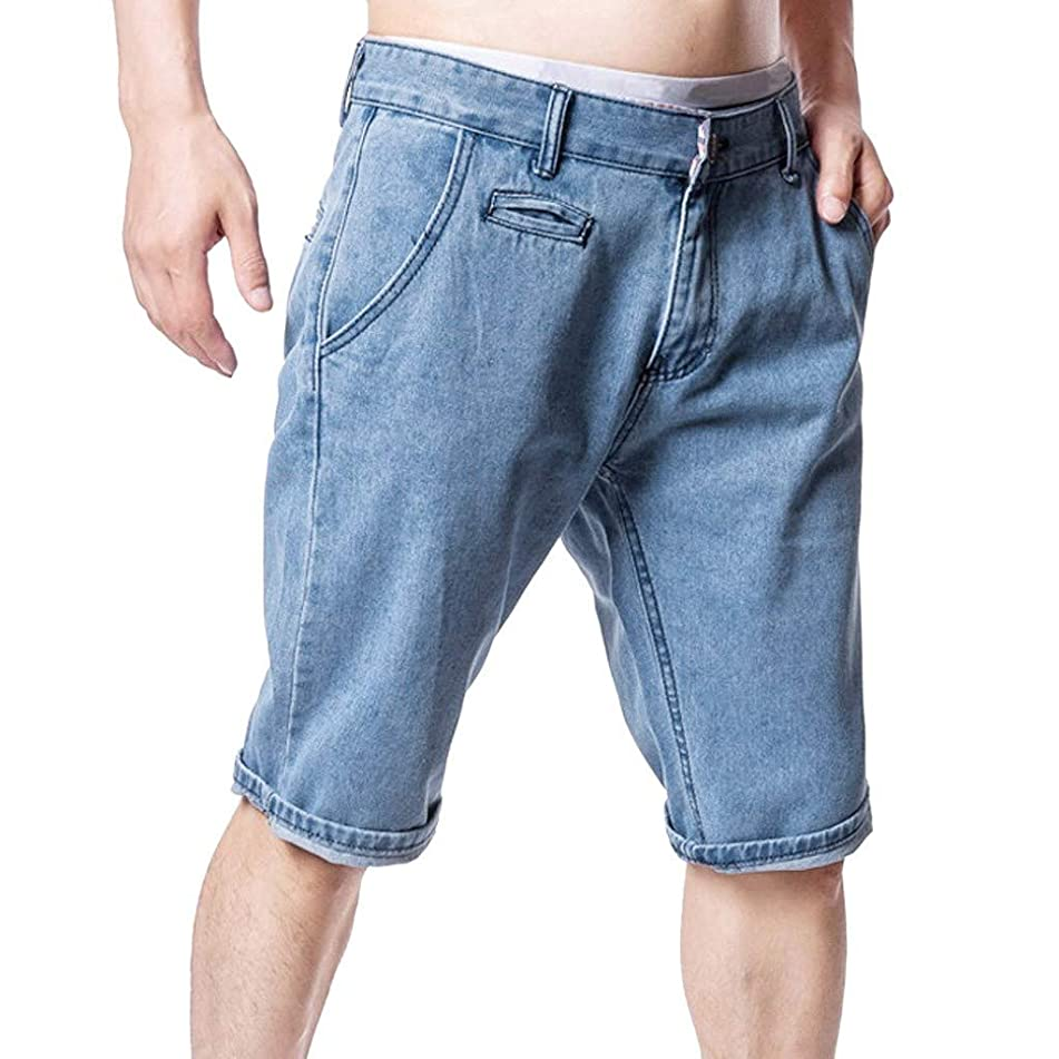 Fitfulvan Shorts Men's Five Jeans Distressed Jeans Pants Cotton Solid Straight Pocket Trouser Fashion Personality Denim