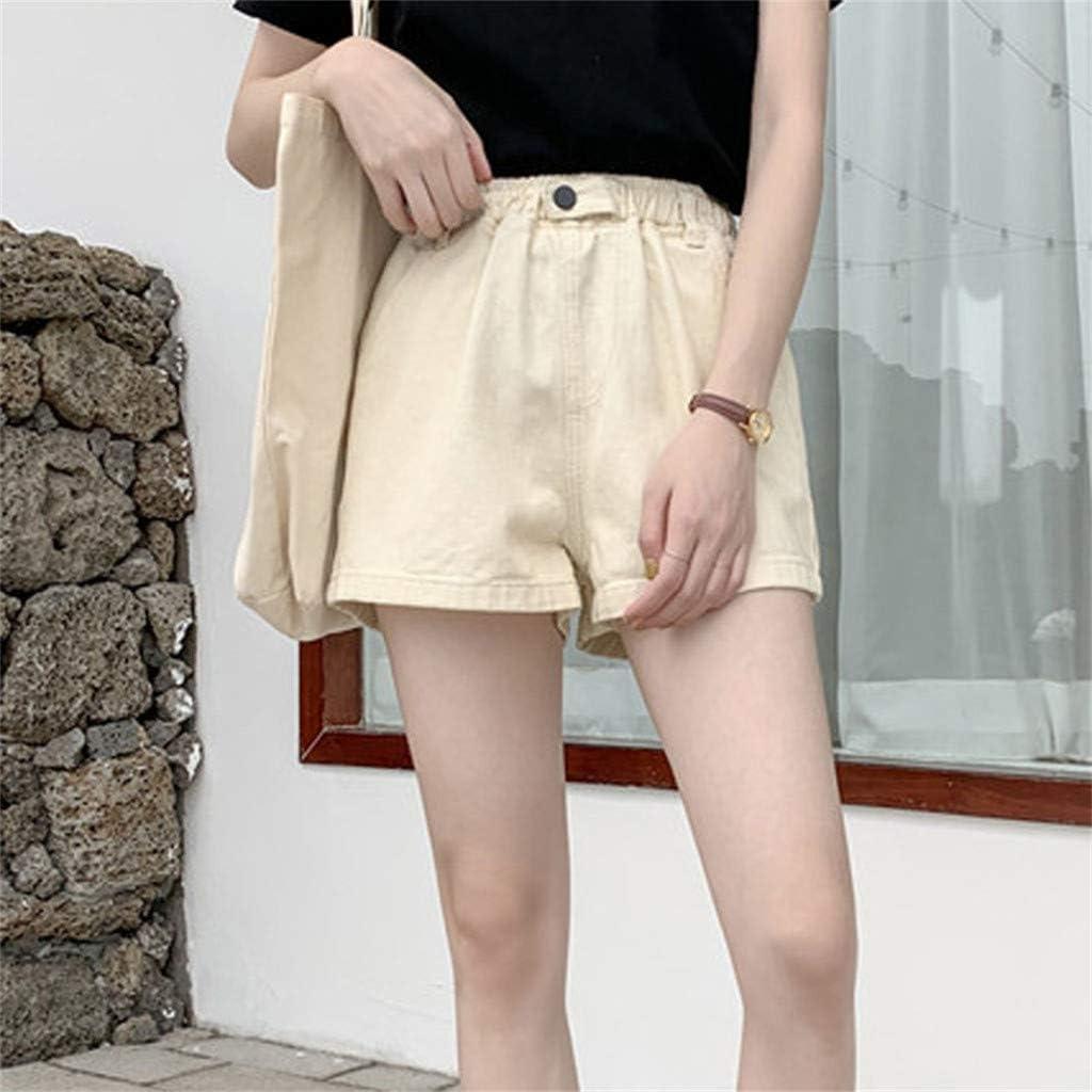 wodceeke Womens Summer Solid Color Loose Wide Leg Elastic Waist Pockets Cotton Shorts Hot Pants