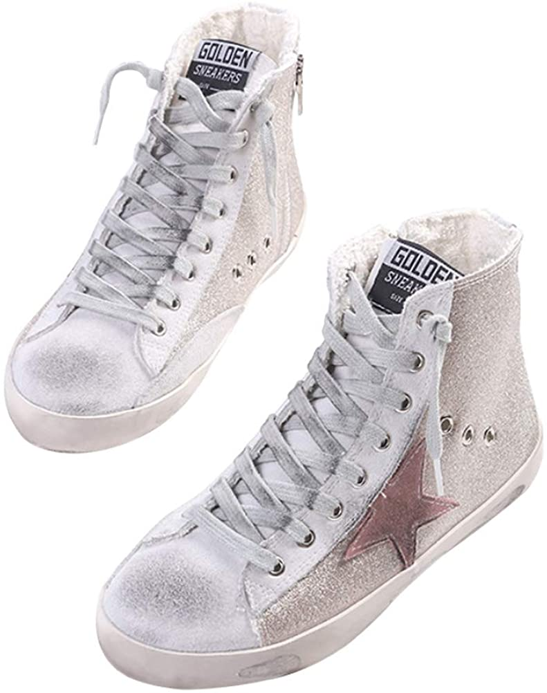 SATUKI Women's Distressed Design Lace up Star Glitter Shoes High Top Fashion Flat Sneakers