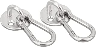 Lind Kitchen 2-Pack M6 Ceiling & Wall Mount Hanging Hardware Fitting Set 304 Stainless Steel Heavy Duty Round Pad Eye Hook Plate + Snap Hook for Yoga Hammock Swing Marine Boat Application
