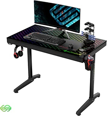 "EUREKA ERGONOMIC Gaming Desk RGB 43"" Tempered Glass Desktop Home Office Computer Desks New Polygon Legs Design, General Series I43, Black"