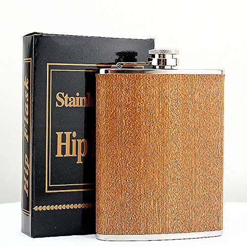 WENYOG Petaca Acero Inoxidable Creativa Hip 8 Oz Petaca en Acero Inoxidable de Madera de la Botella de Vino Whisky Retro Alcohol Bolsillo de la garrafa con la Caja for los Regalos