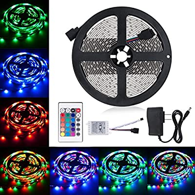 Led Strip Lights, 16.4ft LED Flexible Strip Lights, 150 Units 5050 RGB LED Light Strip Kit with 44Key Remote Controller and Power Supply