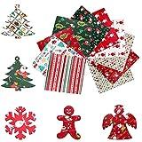 10 Pezzi Tessuti Natalizi, Tessuto a Tema Natalizio, Tessuto di Cotone Natale, tessuto stampato in cotone patchwork multicolore, utilizzato per il cucito, artigianato natalizio fai da te (50*50CM)