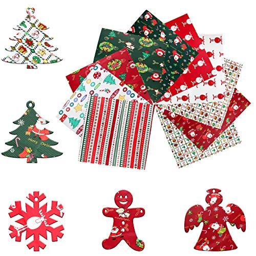 10 Piezas Navidad Tela Algodon Telas Patchwork, Tela de Algodón de Navidad,...