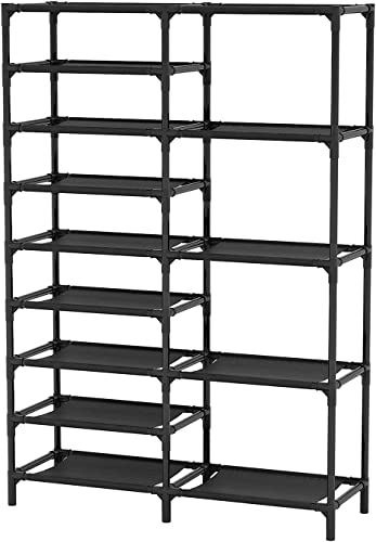 new arrival Tribesigns high quality Shoe Rack, 9 Tiers Shoe Tower Shoe Shelf popular Stackable, Space Saving Shoe Storage Cabinet, Holds 28 Pairs (Black) online