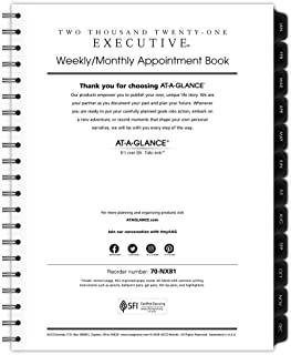 """$24 » 2021 Weekly & Monthly Planner Refill for 70-LX81-05 and 70-NX81 by AT-A-GLANCE, 8-1/4"""" x 11"""", Executive, Black (709111021)"""