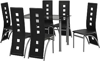Tidyard Conjunto de Comedor Mesa de Comedor con 6 Sillas para Cocina de 7 Piezas Negro