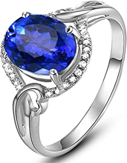 18K Gold Ring Oval Hollow Shape Women Engagement Ring Proposal Ring with 1.4ct Blue Tanzanite