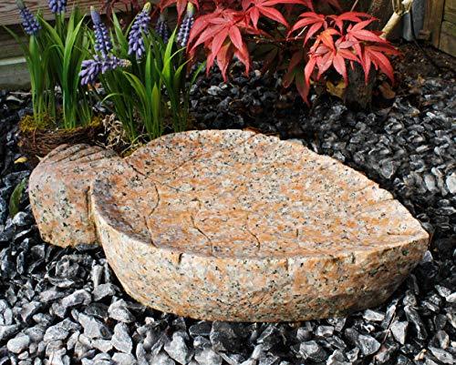 Arnusa Vogeltränke aus Granit Vogelbad Futterschale Wasserstelle Gartendeko Dekostein Wasserbad